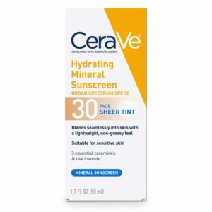 CeraVe Tinted Sunscreen with SPF 30, new, 1.7oz