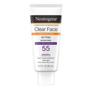 Neutrogena Clear Face Oil-Free Sunscreen, SPF 55, 3oz