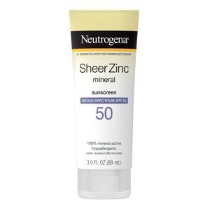 Neutrogena Sheer Zinc Mineral Sunscreen, SPF 50, 3oz
