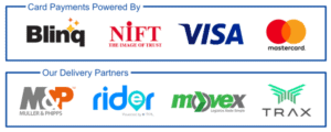 Logo card, showing card payments securely powered by Blinq, NIFT, Visa and MasterCard; and delivery partners M&P, Rider, Movex and Trax
